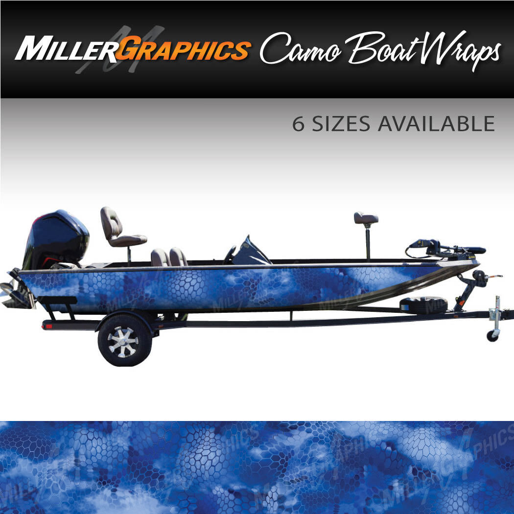 Camo Boat Wrap Kit Chameleon Blau 3M Cast Vinyl - 6 Größen verfügbar