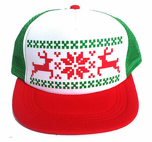 Snowman Ugly Christmas Sweater Party Snapback Mesh Trucker Hat Cap RWG