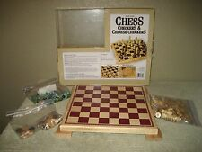 Solid Wood Chess, Checkers & Chinese Checkers Game 2 - 6 Players Ages 6 to Adult