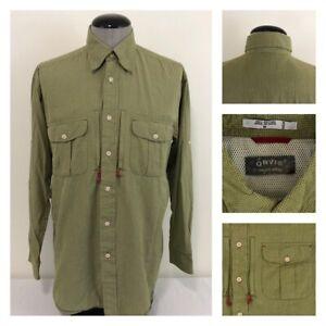 Orvis-Trout-Bum-Driggs-Mens-M-Mesh-Vented-Green-Check-Button-Down-Fishing-Shirt