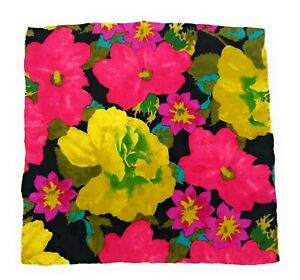 BRIONI-Floral-Silk-Pocket-Square-Hand-Rolled-LKNWOT-Black-Yellow-Pink-Flowers