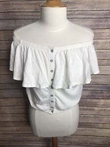 Free-People-Sz-S-White-Off-Shoulder-Ruffle-Button-Down-Cropped-T-Shirt-Blouse