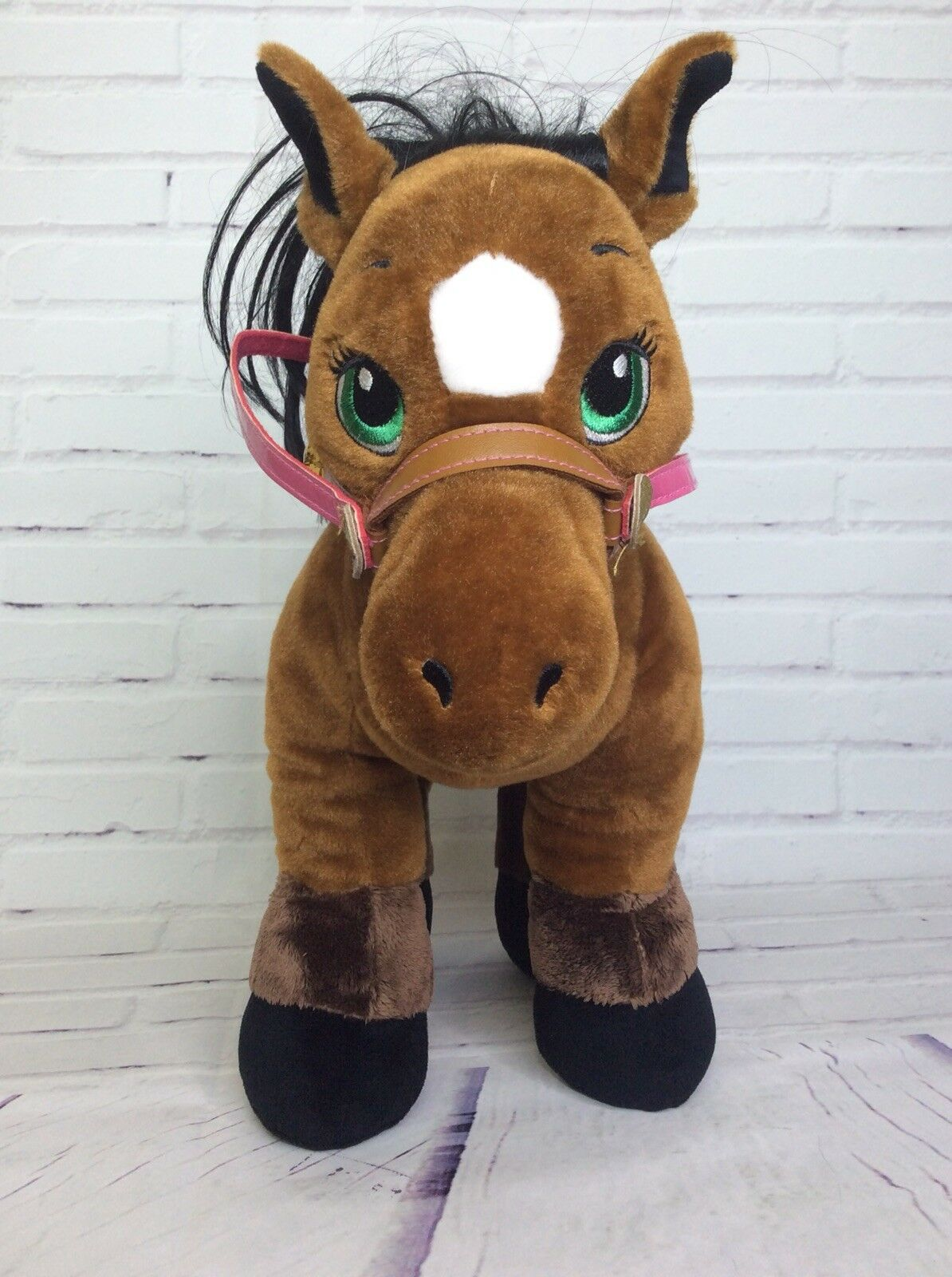 Build A Bear Horses & Hearts Bay Thoroughbrosso marrone Stuffed Animal Plush Saddle