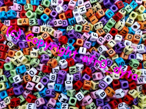 100 Opaque Coloured Alphabet Mixed Letters Cube Beads 6mm BUY 3 FOR 2