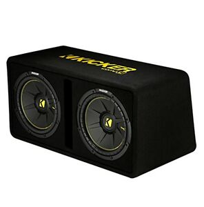Kicker-Dual-10-Inch-1200-Watt-2-Ohm-Vented-Loaded-Subwoofer-Enclosure-44DCWC102
