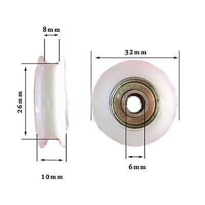 4Pcs 5*22*7mm White POM Coated Tire Wheel Arc Ball Bearing for Furniture Pulley