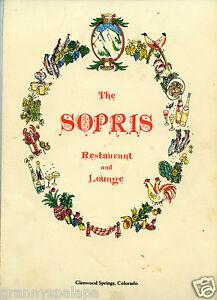 "Glenwood Springs, Colorado-Older Restaurant Menu - The SOPRIS 14"" X 8 1/2"""