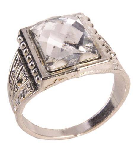 Stone Ring Roaring 20/'s Flapper Silver Fancy Dress Halloween Costume Accessory
