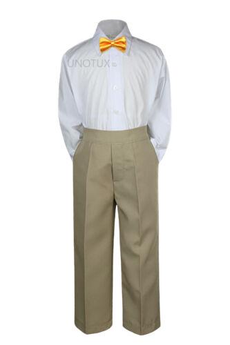 23 Color 3pc Set Bow Tie Boys Baby Toddler Kid Formal Suit Shirt Khaki Pants S-7