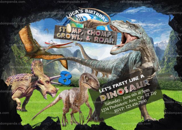 Dinosaur Invitation Pterodactyl Birthday Invite Jurassic Park Party