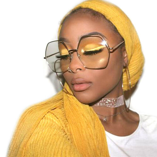 Übergröße Damen Mode Brille Hexagon Gold Metallrahmen Klarglas Brille
