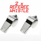 2 X METAL REFEREE WHISTLE WITH KEY RING SPORTS PE SCHOOL FOOTBALL RUGBY PARTY