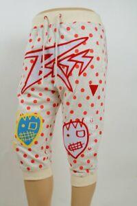 Bass-By-Ron-Bass-Cream-3-4-Sweat-Jogger-Pants-Red-Dots-Patches-XL-Waist-34-36-034