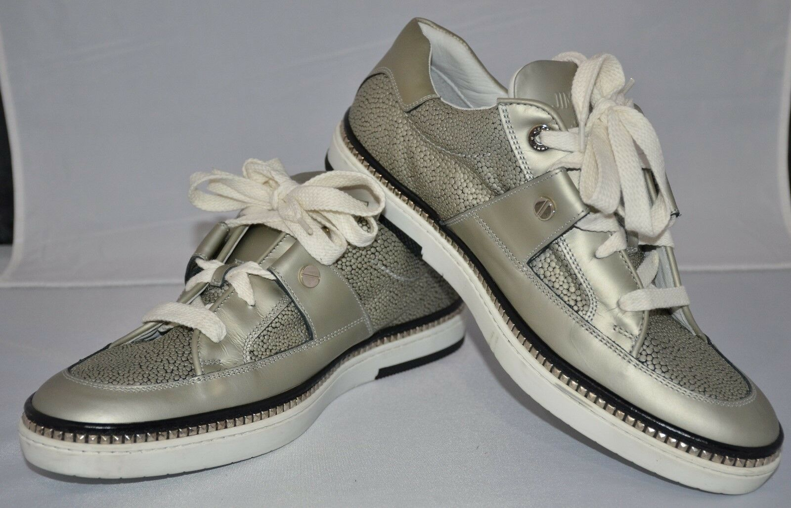Jimmy Choo Stampa Argent Baskets Chaussures Taille 43