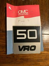 Genuine OMC Johnson Evinrude 50 VRO Sticker Plate P//N 334418  #6L483