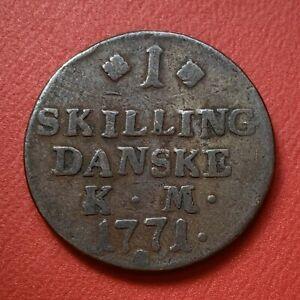 MONNAIE-COIN-DANEMARK-1-Skilling-Christian-VII-1771-Copenhague-KM-616-C-47