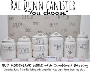 Rae-Dunn-Canister-Cellar-COFFEE-SUGAR-TEA-RICE-COOKIES-SEA-034-U-CHOOSE-034-NEW-039-19-039-20