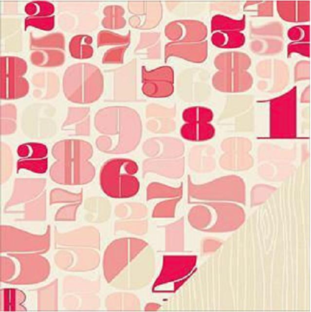 12x12 Scrapbook Paper Hall 368142 Numbers Shimelle Wood Grain Pink