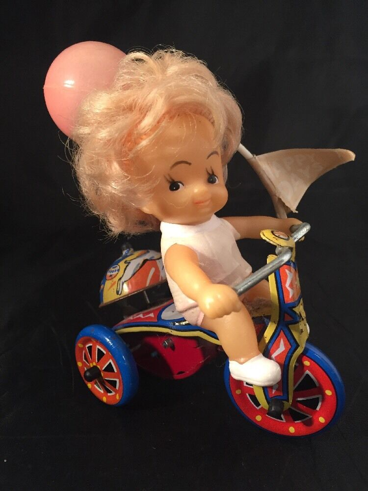 Vintage Tin Wind Up Key Toy Happy Days Bicycle Girl Balloon Bell Bike Working