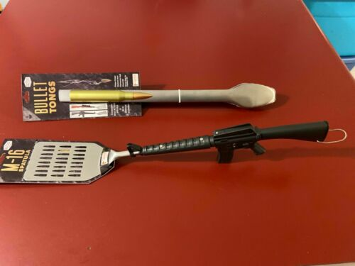 Stainless Steel  Heavy duty Novelty Barbeque 2pc Set M16 Spatula /& Bullet Tong