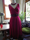 LOVELY JACQUI E PURE SILK HEAVILY BEADED CRIMSON DRESS 6 8