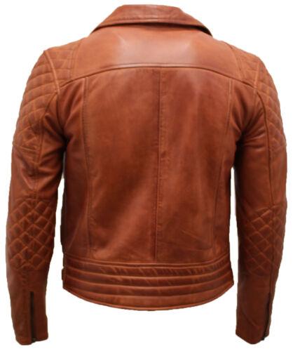 Giacca uomo trapuntata in Brando moto chiaro pelle uomo marrone da da da vintage Z1wapqrZg