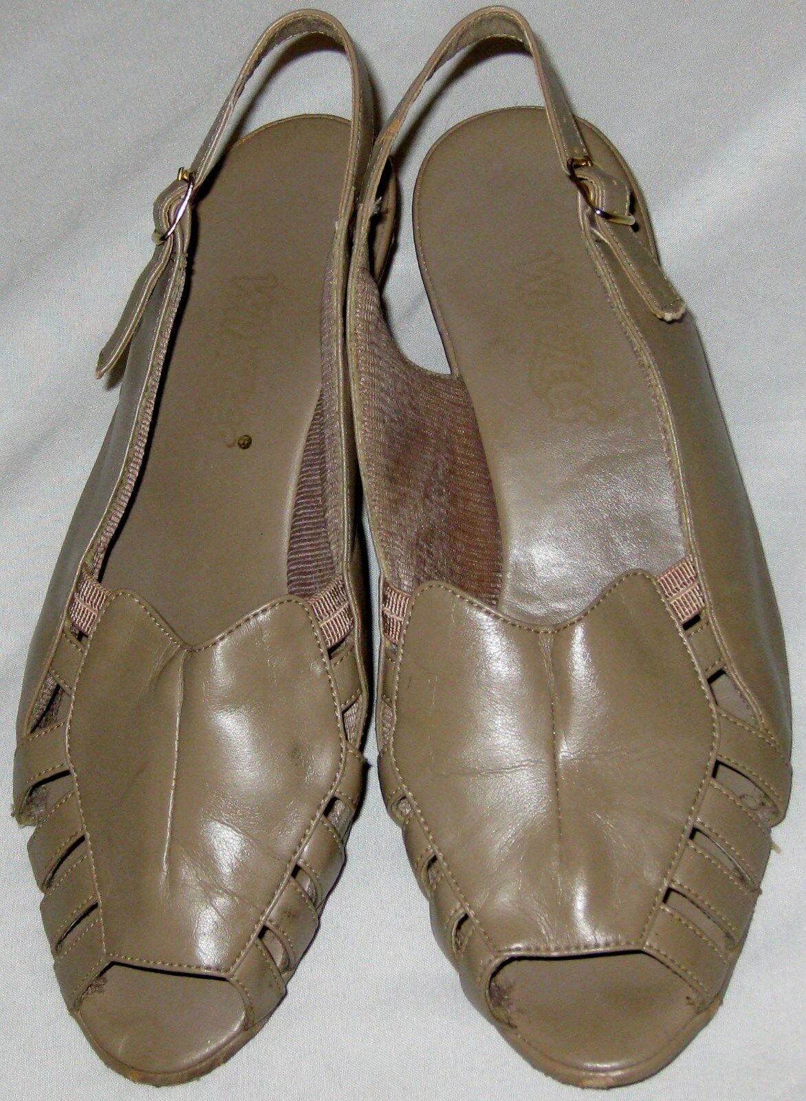 Taupe Brown Leather M Upper Wimzees 7 1/2 M Leather Womans Sandal Shoes 5d3a6b