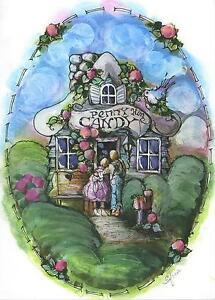 FOLK-ART-PENNY-CANDY-STORE-SHOP-FLOWERS-HOUSE-COTTAGE-ORIGINAL-W-C-PAINTING