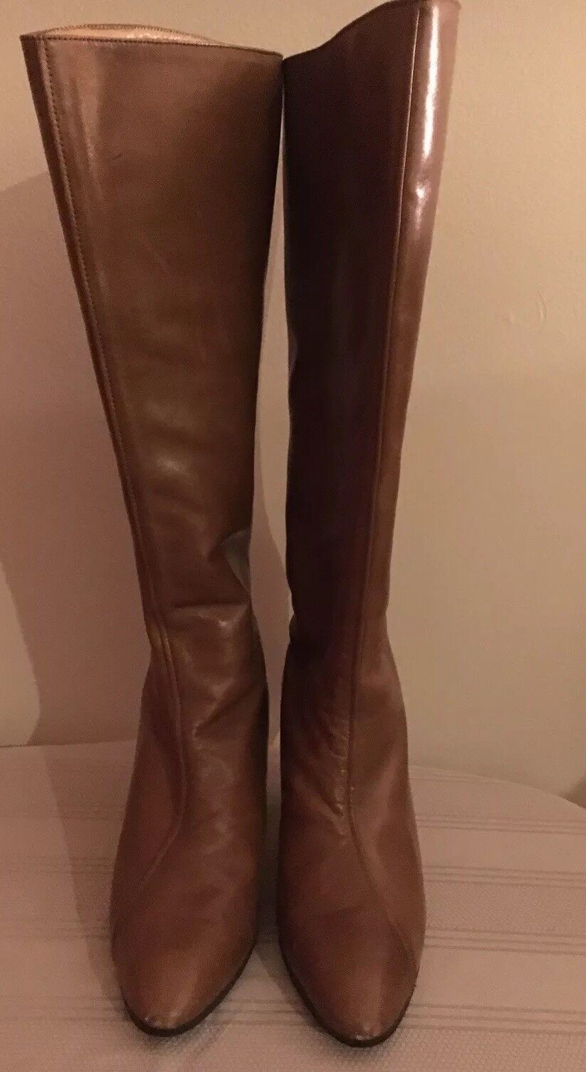 Women's US 6.5 Barefoot Original Leather High Heels Boots  made in Spain Vintage
