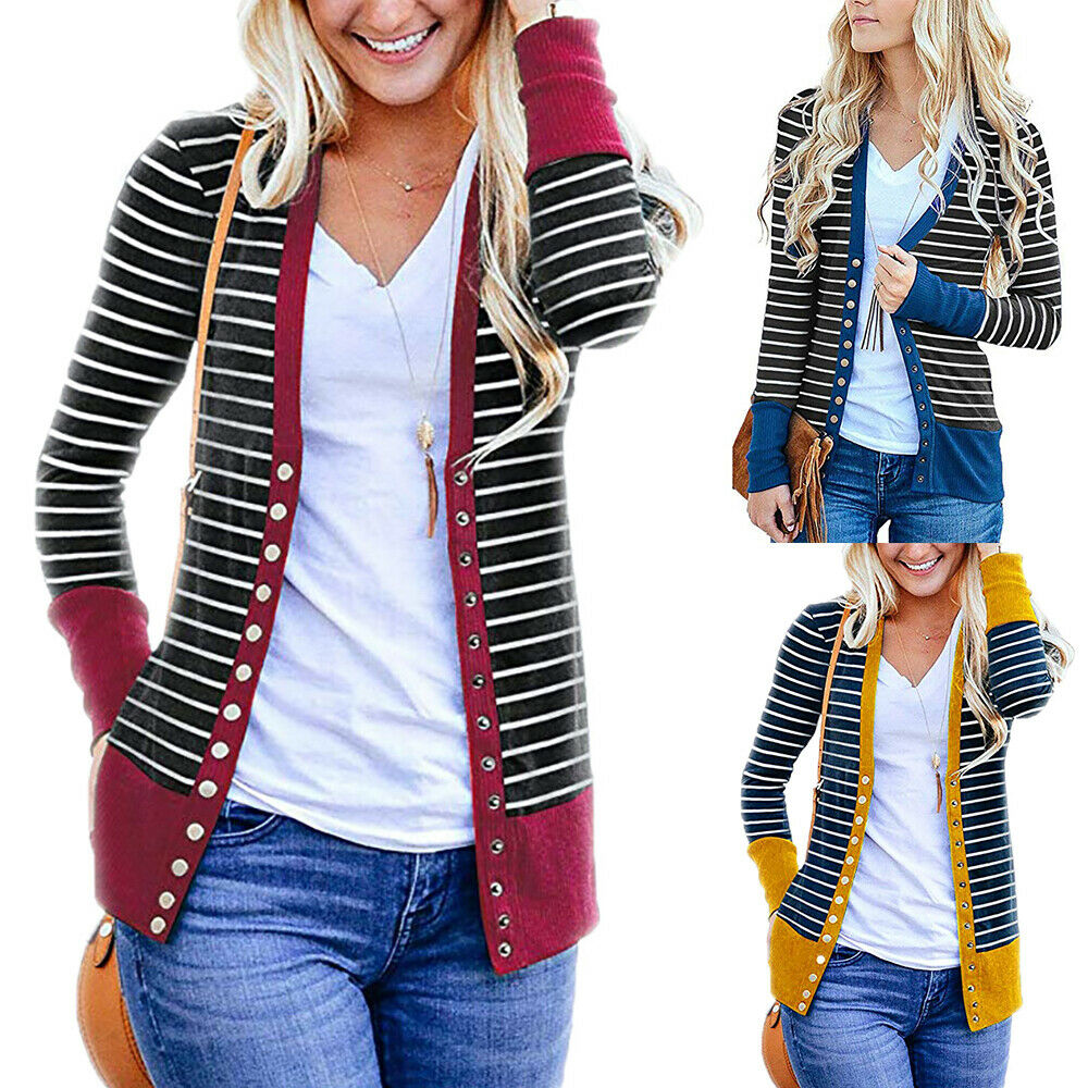 Women Long Sleeve Cardigan Ladies Button Knitted Top Casual Stripe Blouse Jacket