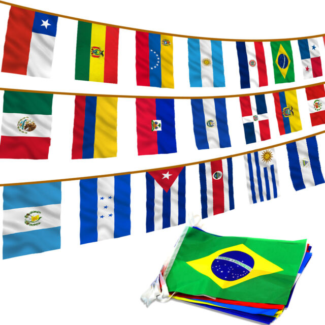30ft String Flag Set of 20 Latin American Country Flags 12x18 Pennants