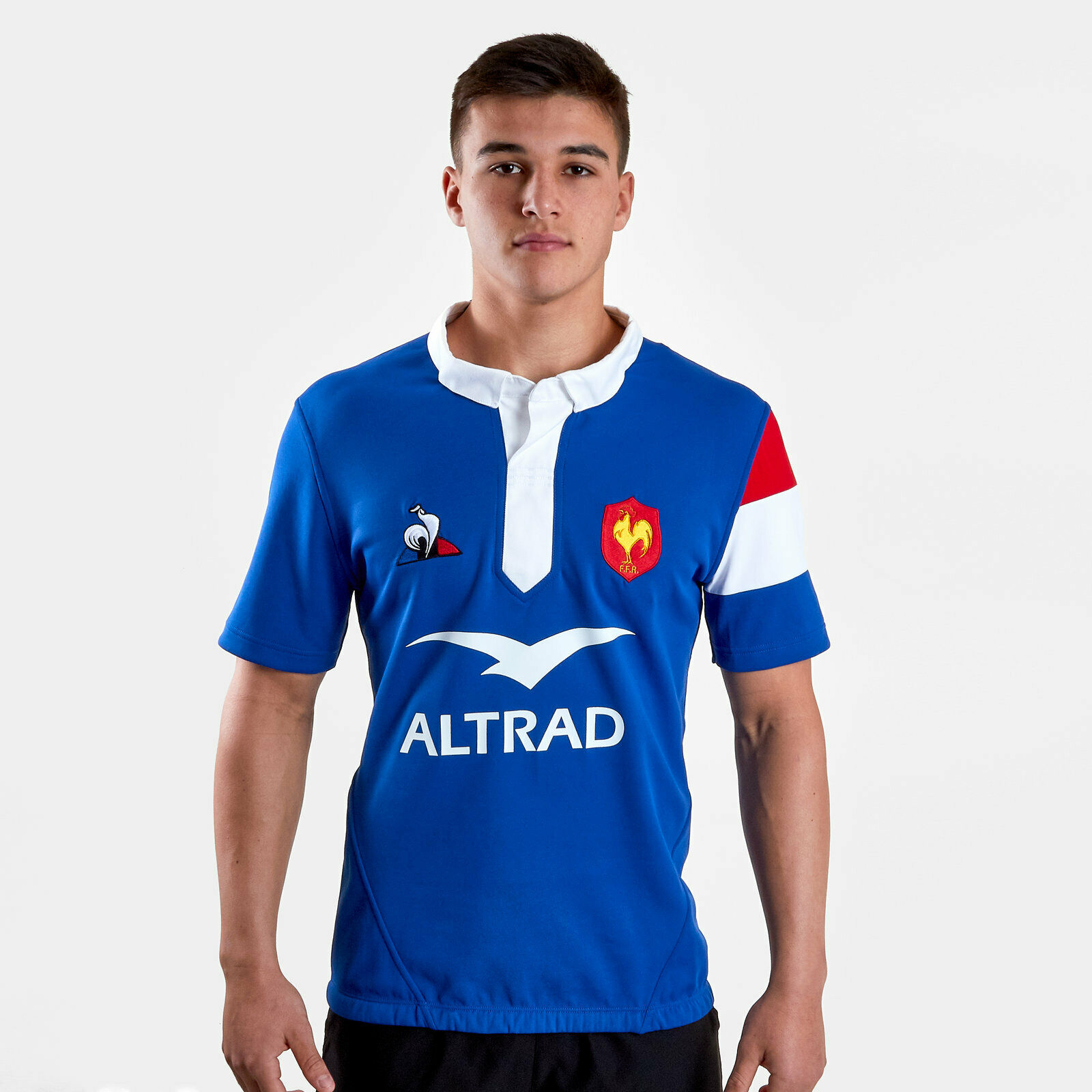 Le Coq Sportif Da Uomo 2018 19 Francia Casa Manica Corta Rugby Shirt Tee Top Blu