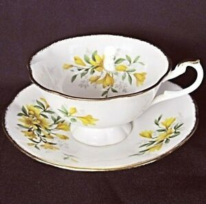 Royal-Heritage-China-Yellow-Floral-Green-Grey-Leaf-Footed-Teacup-Saucer-Set-VG-C