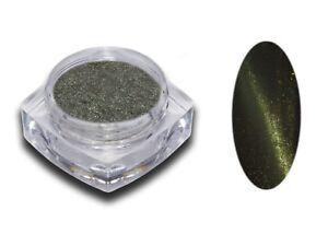 Cat Eye Pigment Puder Grün Green Magnet Glitzer Pulver Nail Art Glitter Nagel