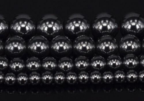 """Noir Hématite Gemme Pierre de Perles Rondes 15.5/"""" 4 mm 6 mm 8 mm 10 mm"""