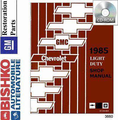 OEM Repair Maintenance Shop Manual CD Chevy Truck R//V 10-30 /& G//P Series 1985