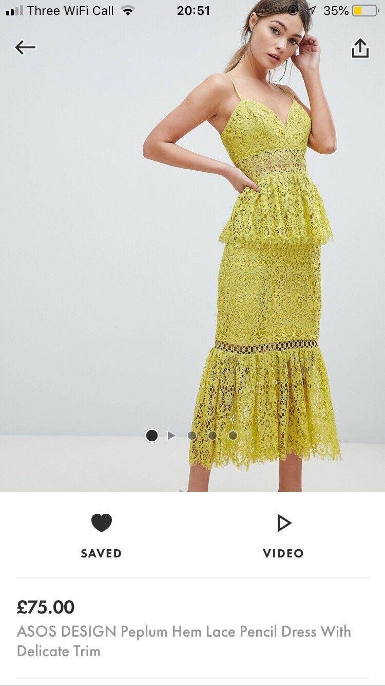 Asos Lace Peplum Dress - Size 14. Beautiful Colour, Shape And Style.
