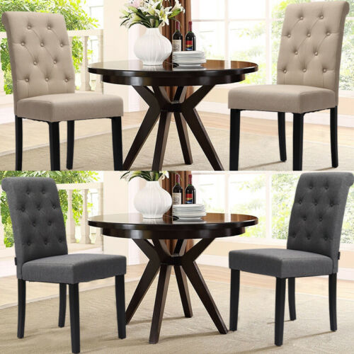 2Pcs Button Back Dinning Chairs Living Room Leisure Chairs Ergonomic Padded Seat 2x Beige,2x Grey