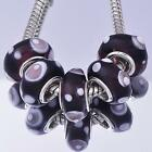 5Pcs Silver Dots Murano Fit charms Lampwork lot Glass Beads European Bracelet