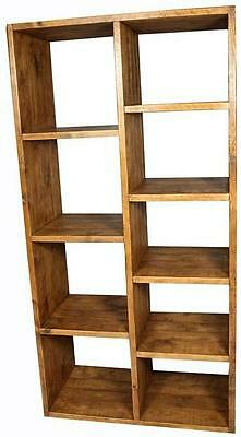 NEW SOLID WOOD CHUNKY RUSTIC PLANK PINE CUBE OPEN BOOKCASE SHELVING UNIT STORAGE