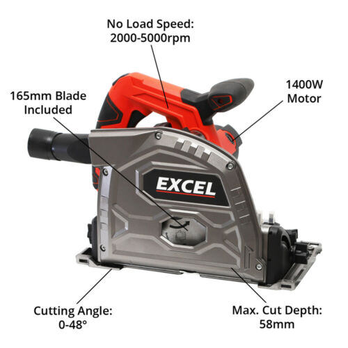Excel 165 mm Plunge Scie 1400 W Heavy Duty 240 V