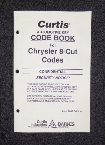 M Curtis Automotive Key Code Book for Chrysler 8-Cut Codes