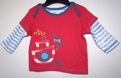 NEW BABY BOY/'S LONG SLEEVE TOP MY LITTLE TUG BOAT RED MIX MARKS /& SPENCER 100/% C