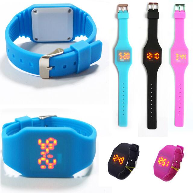 NEW Silicone LED Kid Boy Girl Sport Watch Touch Digital Bracelet Wrist Watches