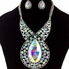 Premium Iridescent AB Large Teardrop Gemstone Rhinestone Necklace with Earrings