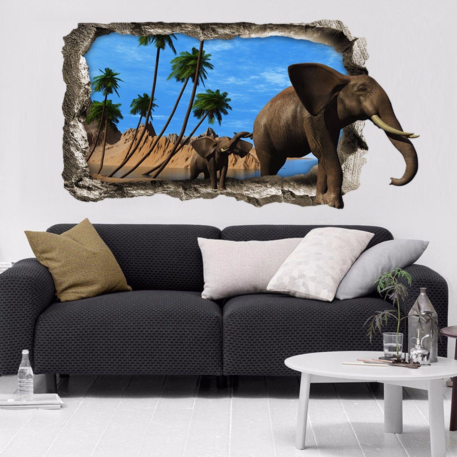 3D Elefanten Baum 9 Mauer Murals Mauer Aufklebe Decal Durchbruch AJ WALLPAPER DE