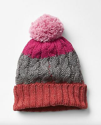 2T Toddler Girls S M GAP Baby Gray Cable Knit Pom-Pom Hat 3T Pink