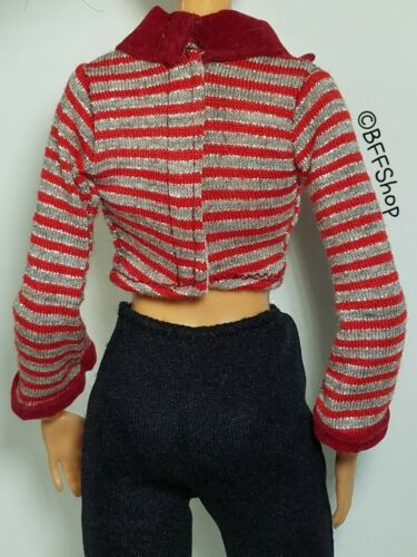 RED SILVER SLEEVES SHIRT TOP BARBIE FASHIONISTAS CLOTHES FASHION NEW