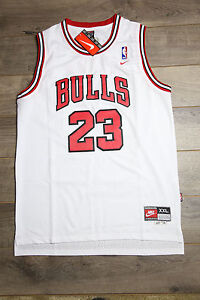 online retailer e5f96 1159a Details about Michael Jordan Jersey #23 Chicago Bulls Hardwood Classics  Swingman Retro White