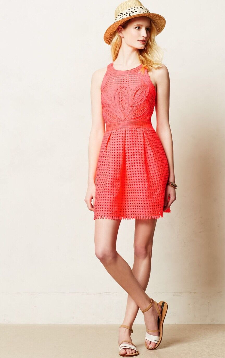 NEW Anthropologie Embroidered Bright Coral Dress Size 2